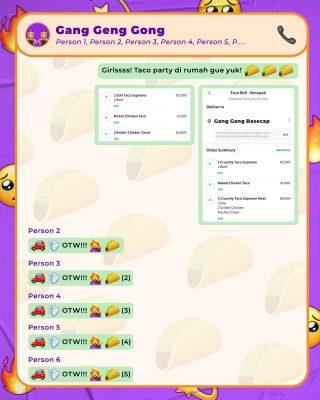 Kalo ngintip isi group chat MinBell and the gang, kira-kira isinya kayak gini. ✨  Di mana pun Taco Supreme berada, gang siap meluncur ke sana. 🚗 Biar gak ketinggalan taco party, cus pesen Taco Bell lewat @grabfoodid! 🌮  #WaktunyaTacoBell #TacoBellIndonesia