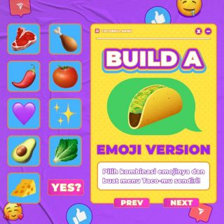 🌮 LET'S BUILD YOUR OWN TACO! 🌮  Kalo lo bisa bikin taco sendiri dari emoji di atas, kalian bakal mix & match emoji apa aja nih? Coba dong spill emojinya terus kasih nama buat taco kreasi lo! 👇  #WaktunyaTacoBell #TacoBellIndonesia