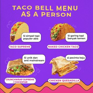 Tag yourself or your friends, MinBell sih yang Naked Chicken Taco. 😎   #WaktunyaTacoBell #TacoBellindonesia