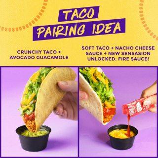 Fix lo wajib cobain menu hack ini. Cocolin ke Avocado Guacamole enaknya mantep! Sensasi hot and cheesy-nya Nacho Cheese + Fire Sauce, berdamage banget. 🤤🔥  #WaktunyaTacoBell #TacoBellIndonesia