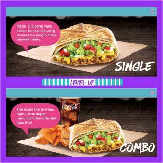 Kalau menu single, main coursenya sendirian. Kalau menu combo, ada side dish dan minuman yang nemenin. Kalau lo, sendirian atau ada yang nemenin? 👀  #WaktunyaTacoBell #TacoBellindonesia