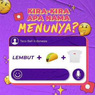 Hayo, ada yang bisa tebak gak nama menunya apa? 🌮 Yang jawabannya betul dapet 💜 dan surprise dari MinBell tanggal 4 nanti. Penasaran kan? Stay tuned ya. 😉  #WaktunyaTacoBell #TacoBellIndonesia