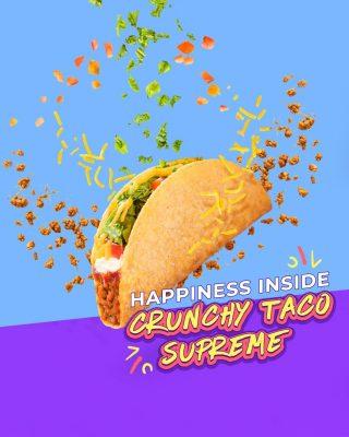 Resep Selasa Ceria: - Bahan 1. Crunchy Taco Supreme - Cara Membuat 1. Order lewat @gofoodindonesia or @grabfoodid sambil rebahan 2. Nikmati paduan ingredientsnya perlahan 🤤  #WaktunyaTacoBell #TacoBellIndonesia #gofoodindonesia #grabfoodid